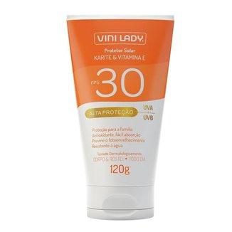 Protetor Solar FPS 30 Corpo e Rosto Karité Vitamina-E 120g Vini Lady