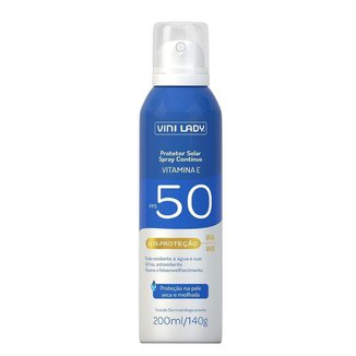 Protetor Solar FPS 50 Aerossol Spray Contínuo Vitamina-E Vini Lady