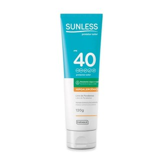 Protetor Solar Sunless 120g Fps 40 Hipoalergenico Farmax