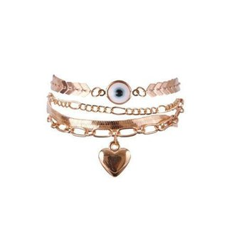 Pulseira dourada com olho grego chang