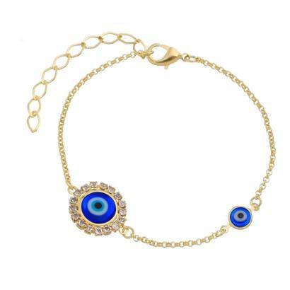 Pulseira Piuka Olho Grego Folheado Ouro Feminina - Feminino - Dourado+Azul -