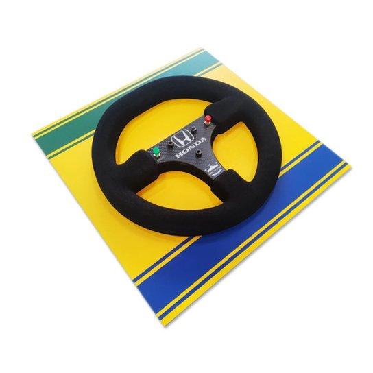 Quadro Liga Retrô 3D Volante McLaren 1988 Brasil 40 Por 40cm - Amarelo