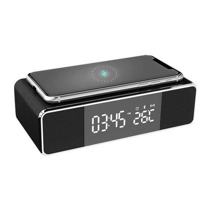 Radio Relógio Com Carregador Por Indução Qi e Som Bluetooth