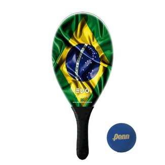Raquete Frescobol Evo Fibra de Vidro Brasil + Bola Penn