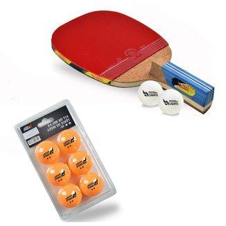 Raquete Tênis De Mesa Ping Pong Cabo Caneta + Bolas Extras
