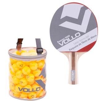 Raquete Vollo Energy 1000 para Tênis de Mesa com 100 Bolas Fun 40