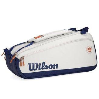 Raqueteira Wilson Roland Garros Premium X9 Cinza Claro e Marinho