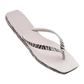 Rasteira Chinelo Feminino Verão Branca Detalhe Zebra Off-White Moda Melissa Casual Armação