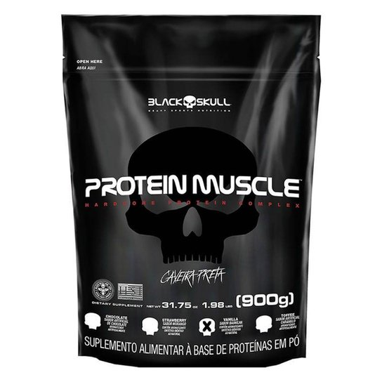 Refil Protein Muscle 900g Black Skull -