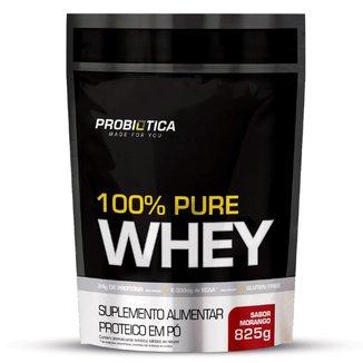 Refil Whey 100% Puro 825g Probiotica Sabor Morango
