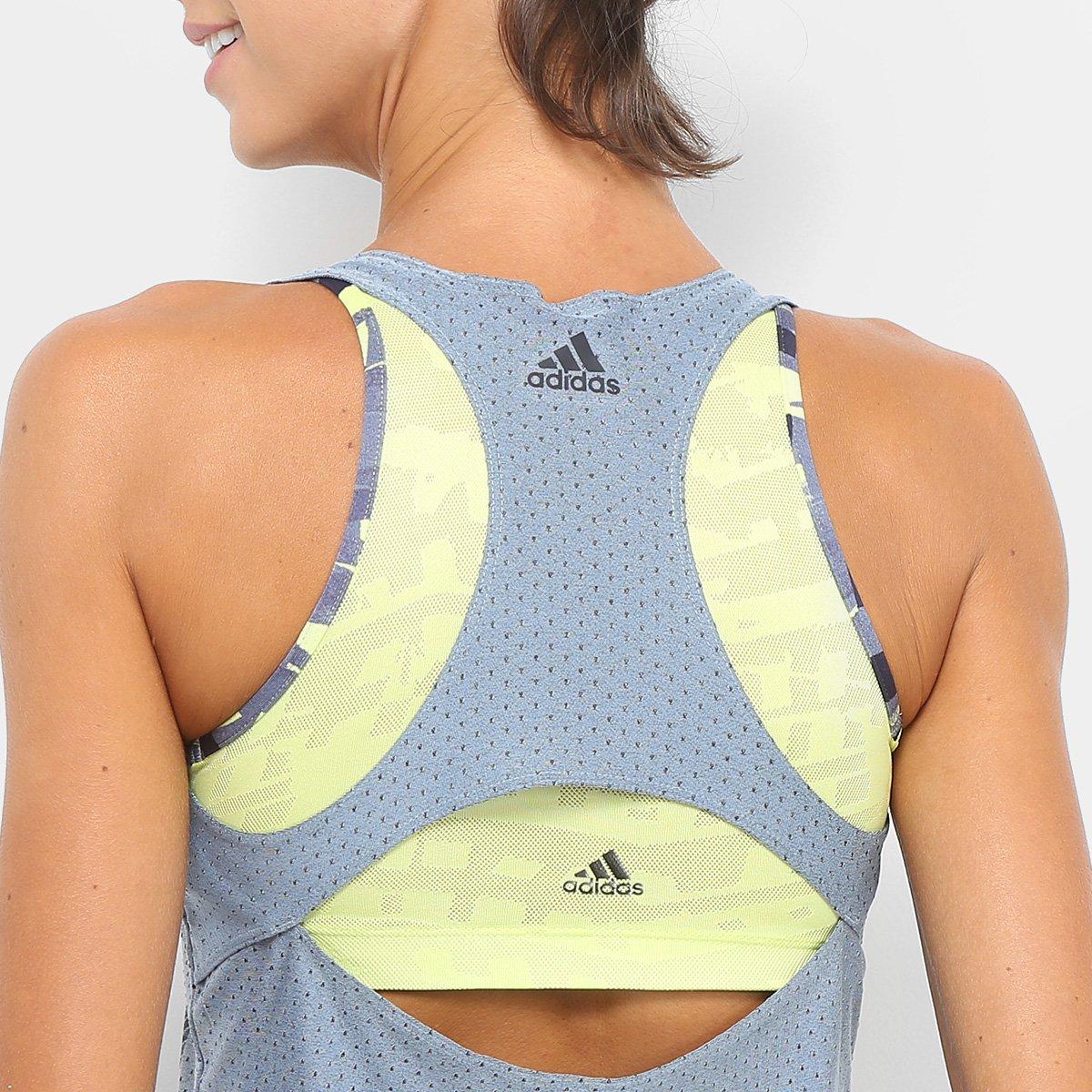 Feminina Regata Adidas Cinza Jacquard Regata Adidas IxTBRwY