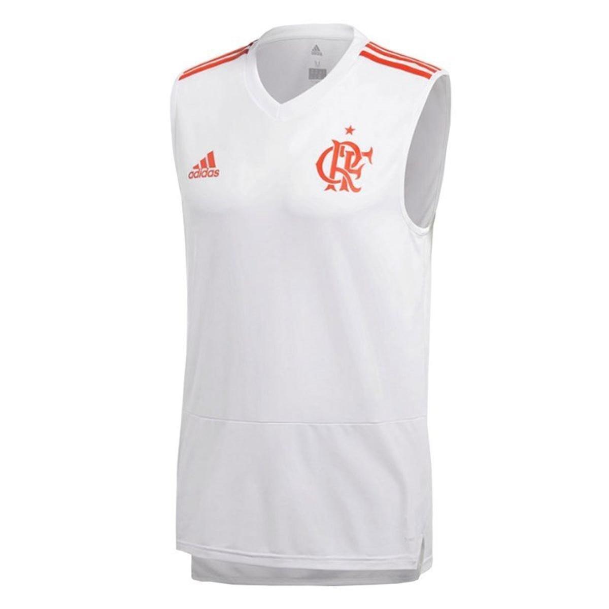 Regata Flamengo Treino Adidas Masculina - Branco - Compre Agora ... a60beeca705ce