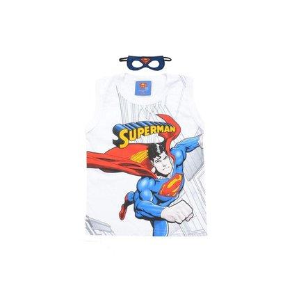 Regata Infantil Masculina Super Homem Com Máscara - BRANCO - 6
