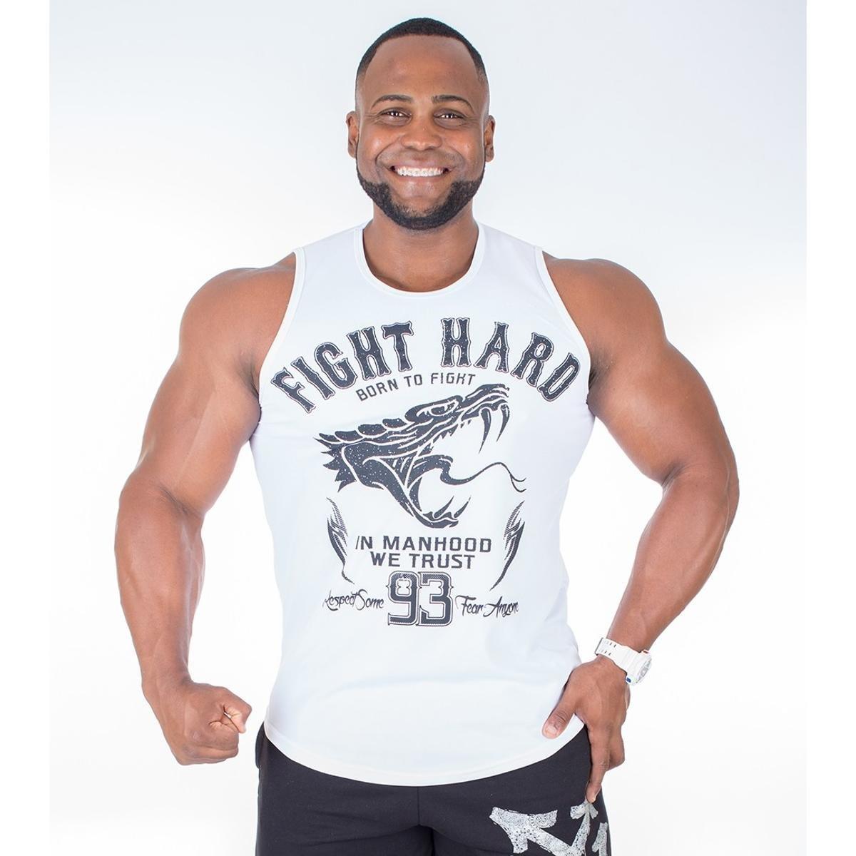 89102b30a5 Regata Machão Long Dry Fit Fight Hard - Branco