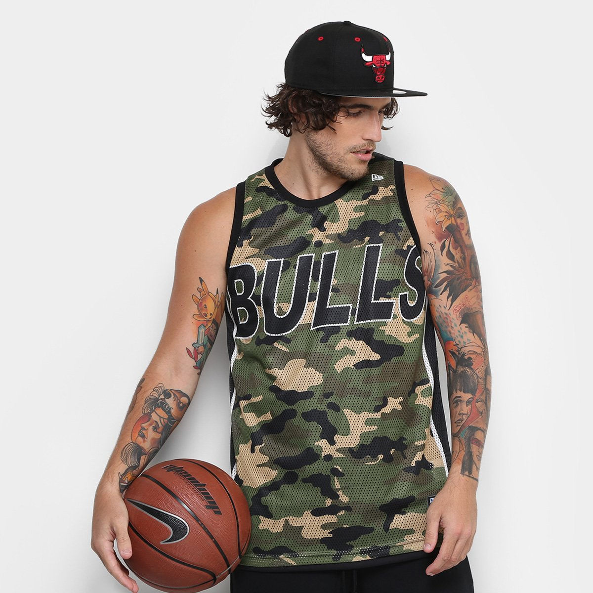 5aef4ee3e4 Regata New Era NBA Double Camo Chicago Bulls Masculina - Compre Agora
