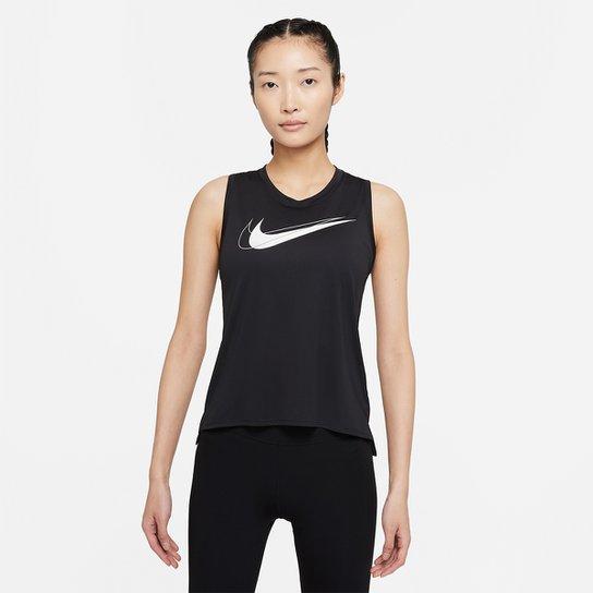 Regata Nike Dri-fit Swsh Run Feminina - Preto+Branco