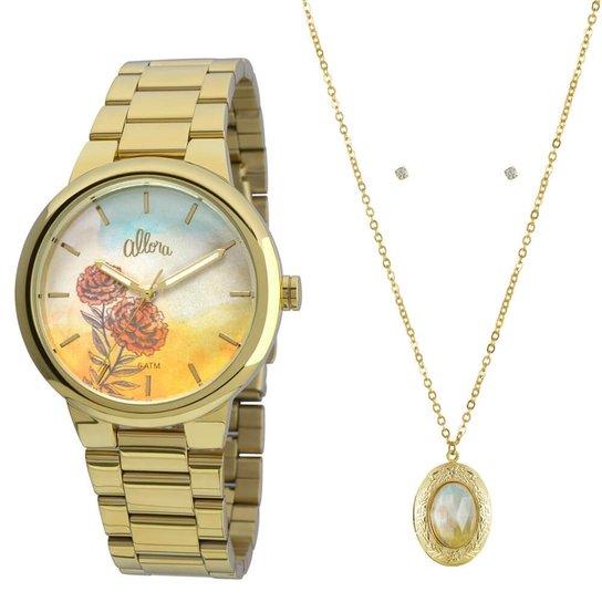 Relógio Allora AL2035FBJ/K4L + Colar e Brincos - Dourado