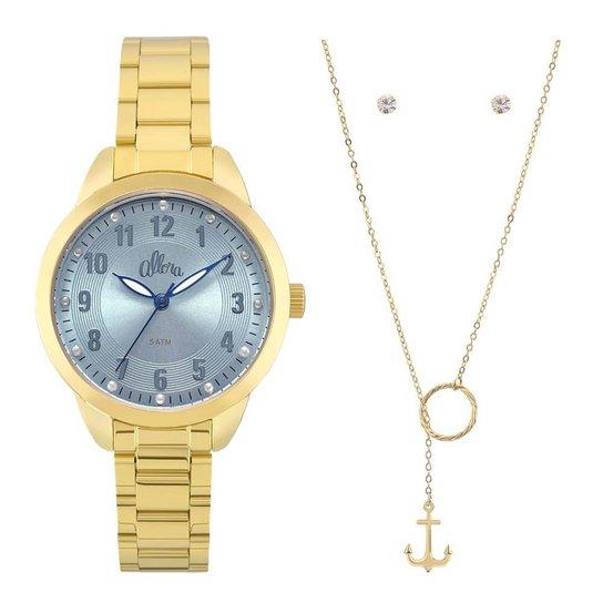 Relógio Allora Al2035Fku/K4A + Colar E Brincos - Dourado