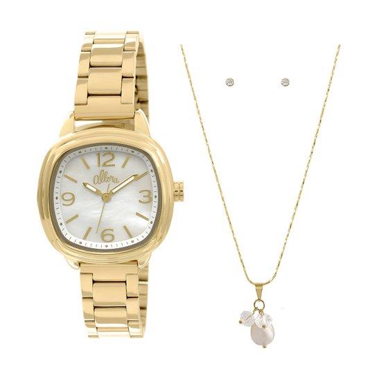 Relógio Allora + Colar e Brincos - Dourado