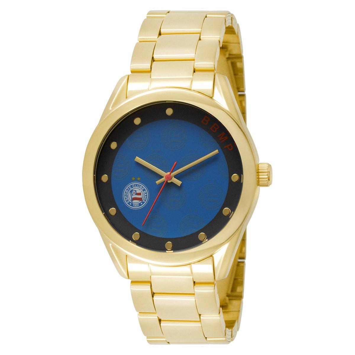 d4264ffecad Relógio Bahia Technos Analógico 5 ATM Feminino - Dourado e Azul - Compre  Agora
