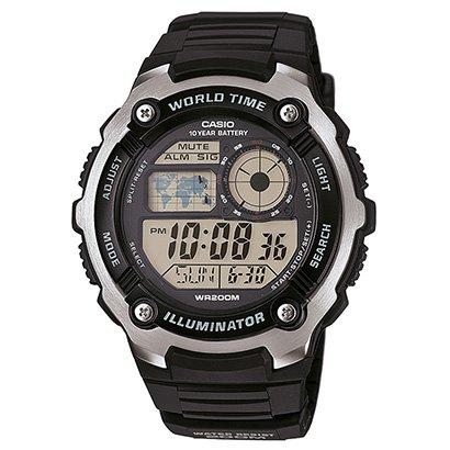 Relógio Casio Digital AE - 2100W - Unissex - Preto