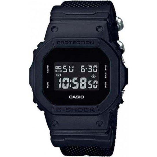 Relógio Casio G-Shock DW-5600BBN-1DR Resistente a choques Pulseira Cordura - Preto