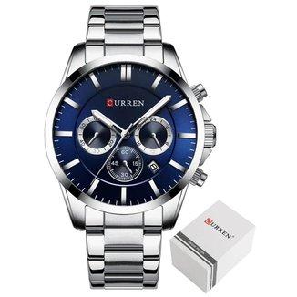 Relógio Curren 8358 Prata e Azul Todos Ponteiros Funcionais Analógico Masculino