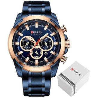 Relógio Curren 8361 Azul Todos Ponteiros Funcionais Masculino Analógico