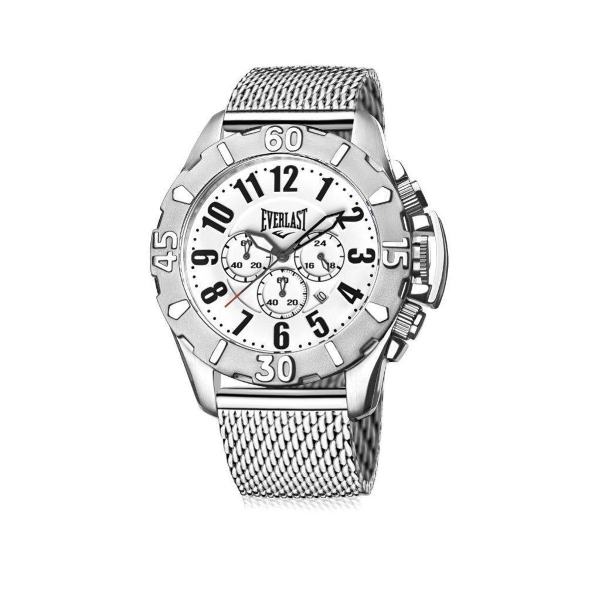 00e3a5c0e9d Relógio de Pulso Everlast Analógico Cx Pulseira Aço Silicone - Prata e  Branco - Compre Agora