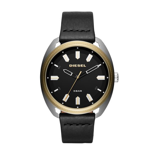 Relógio Diesel Analógico Aço Couro Masculino - Preto+Dourado