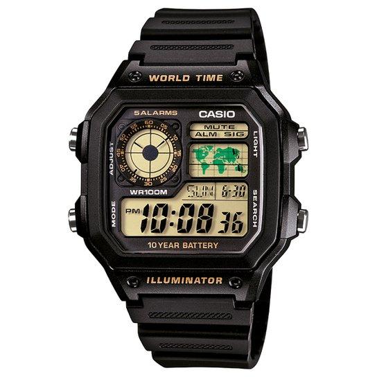 Relógio Digital Casio AE-1200WH-1BVDF Masculino - Preto