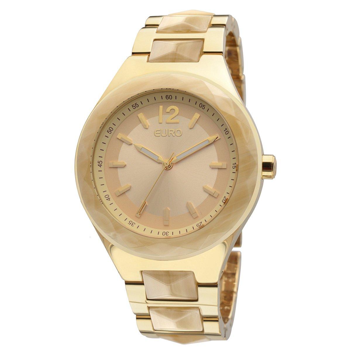 3a3881af66e Relógio Euro Pulso Latão Dourado Pulseira Aço - Compre Agora