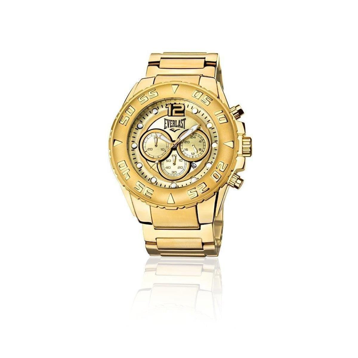 c7773534792 Relógio Everlast Cronógrafo Cx e Pulseira Aço Masculino - Dourado - Compre  Agora