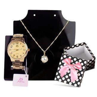 Relógio Feminino Dourado Orizom + Colar + Caixa P/ Presente