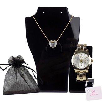 Relógio Feminino Dourado Orizom + Colar + Saco P/ Presente