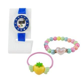 Relógio feminino infantojuvenil Orizom + Pulseira + xuxinha