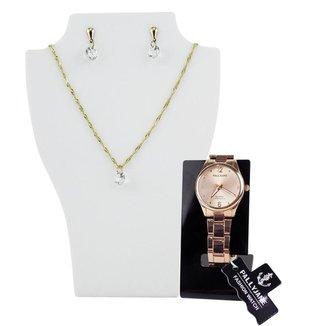 Relógio feminino Orizom dourado + Colar + brinco