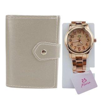 Relógio feminino Orizom Maria em aço + carteira sintética
