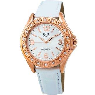 Relógio Feminino Q&Q Fashion Q661J807Y Branco e Rose Gold