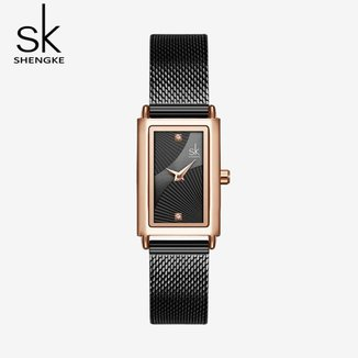 Relógio Feminino Shengke 0119 Cor:Prata