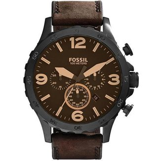Relógio Fossil Nate Chronograph JR1487/0MN Couro