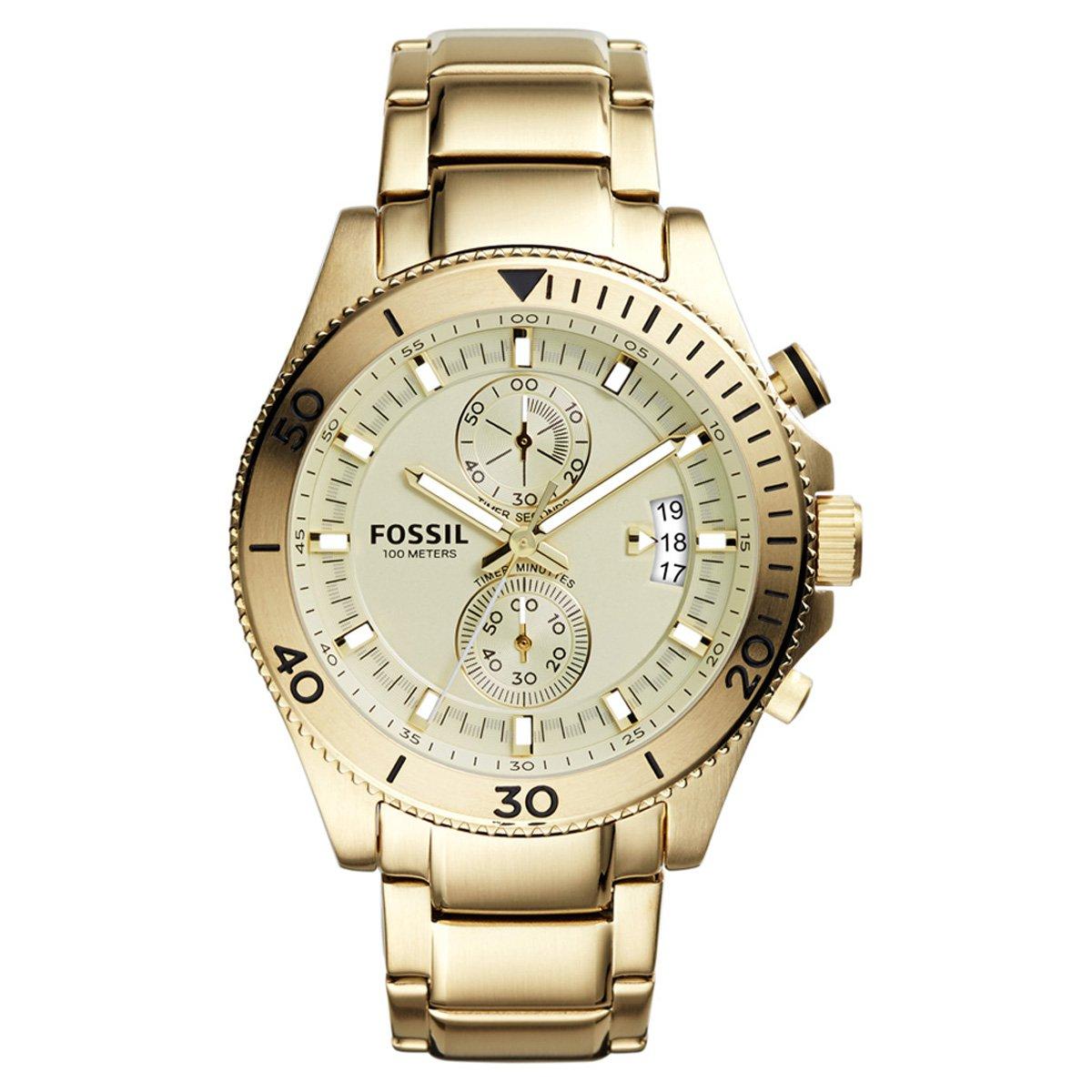 f0f269f764f Relógio Fossil Pulso Dourado Pulseira Dourada Qz - Compre Agora ...