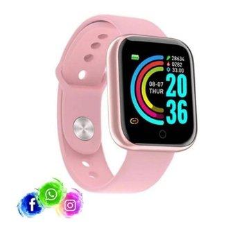 Relogio Inteligente Smartwatch D20 Bluetooth Rosa