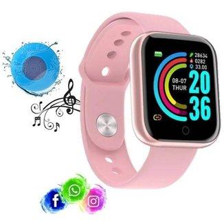 Relogio Inteligente Smartwatch D20 Rosa WhatsApp Instagram Caixa