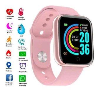 Relogio Inteligente Smartwatch D20 Rosa WhatsApp Instagram