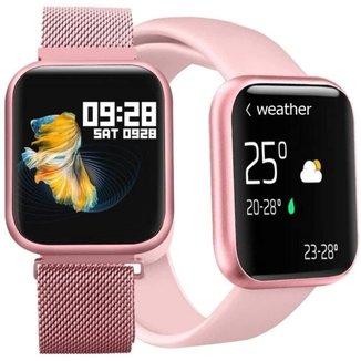Relógio Inteligente Smartwatch P80 Com Pulseira Extra Rosa