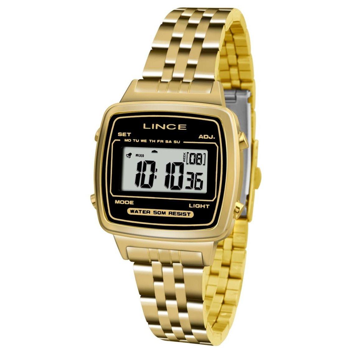 9401934481e Relógio Lince Feminino Digital SDPH040L BPKX - Dourado - Compre Agora