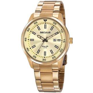 Relógio Masculino Aço Escovado Seculus Dourado 20786GPSVDA2