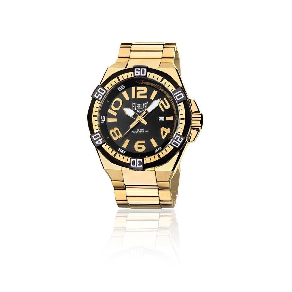 ae1e0ccedad Relógio Masculino Analógico Everlast Cx e Pulseira Aço - Dourado e Preto -  Compre Agora