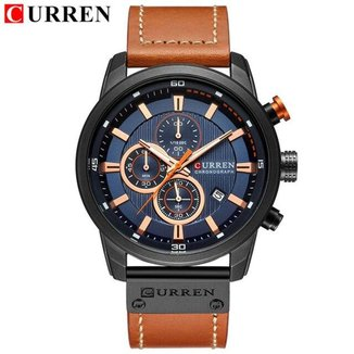 Relógio Masculino Curren 8291 Marrom Claro/Rose Original Pulseira de Couro 100% Funcional